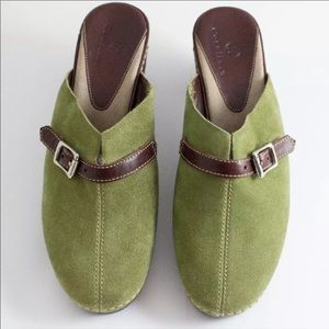COLE HAAN MOSS GREEN MULES SANDALS 8 H04 202896